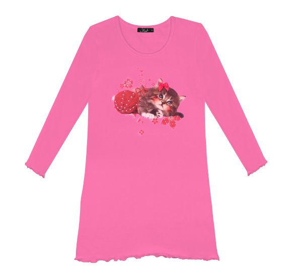 Nightdress kitten wool - barbie pink