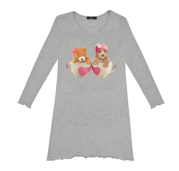 Nightdress teacup dog&bear - Grey chiné