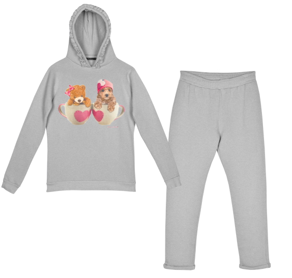 Homewear Grey teacup dog & bear