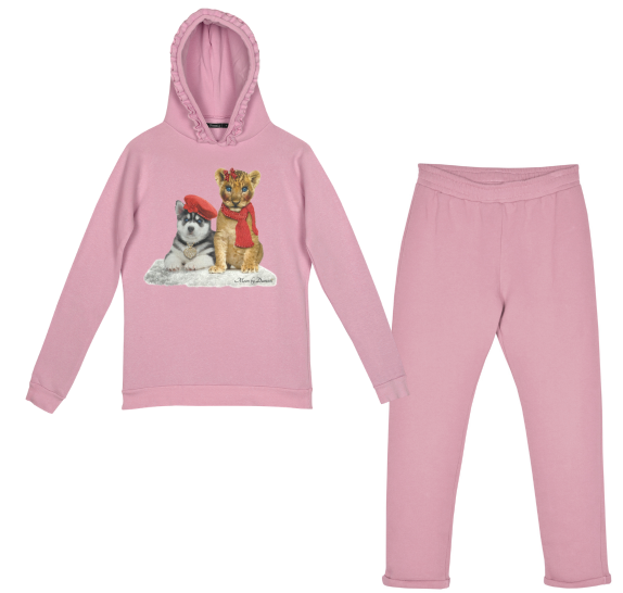 Homewear pink - lion & dog in snow