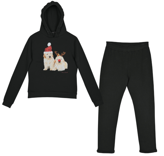 Homewear black - 2 christmas dogs
