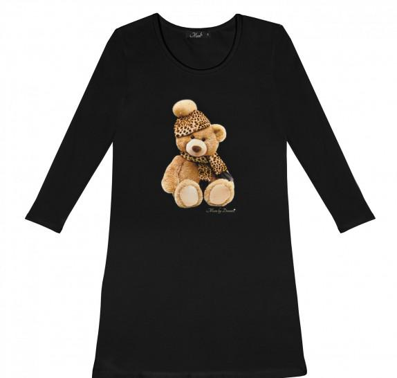 Pyjama dress black - teddy leopard hat