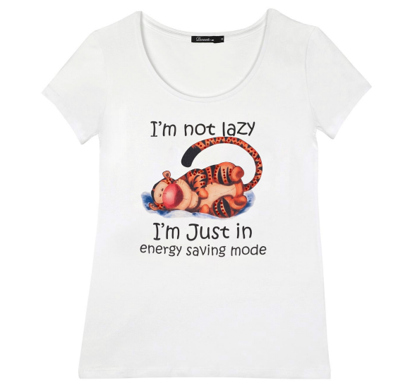 White T-shirt short sleeves - Lazy Tiger