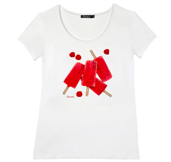 White T-shirt short sleeves - fuchsia ices