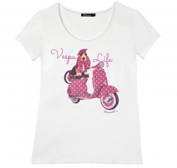 White T-shirt short sleeves - vespa life fuchsia