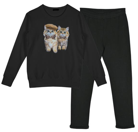 Homewear black - 2 kittens