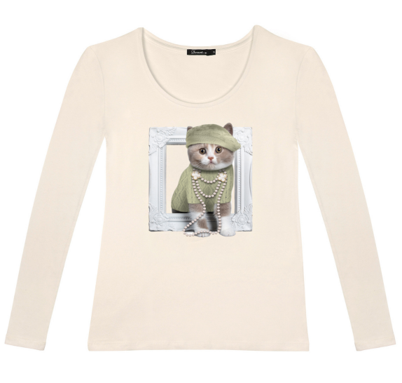 Long sleeves t-shirt - Ivory - cat in frame