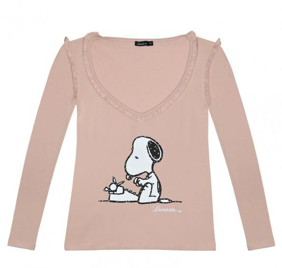 LSVF Snoopy frills on V neck - Old pink