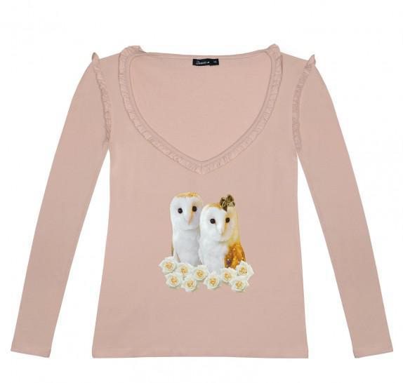 LSVF Owls frills on V neck - Old pink