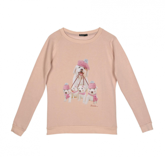 Sweater walking dogs pink OP