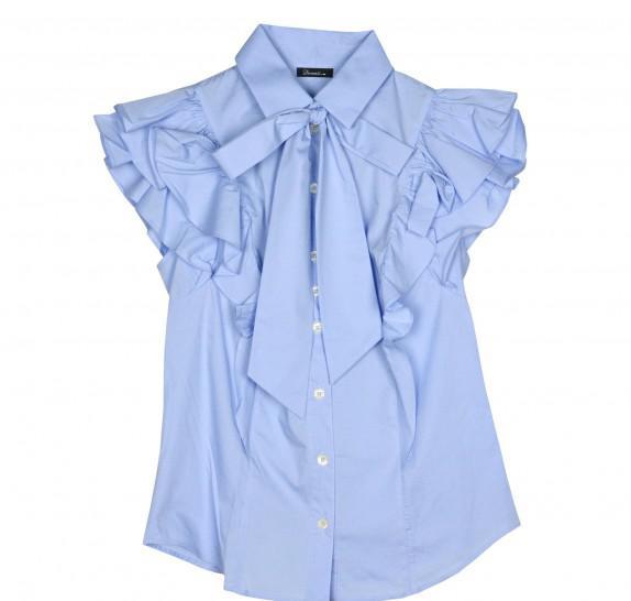 Light blue blouse big frills on shoulders