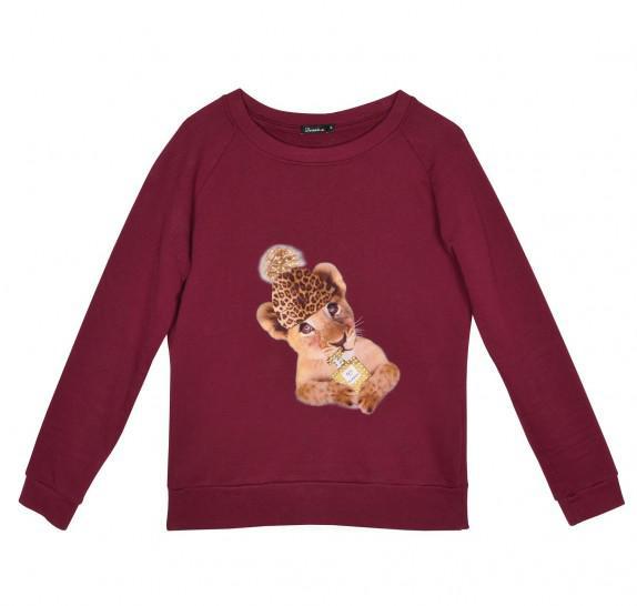 Sweater bordeau - babytiger leopard hat