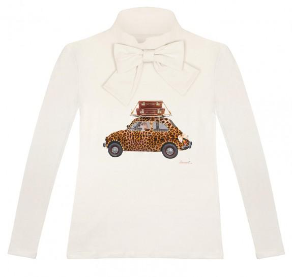 Long sleeves bow neck - ivory - leopard car