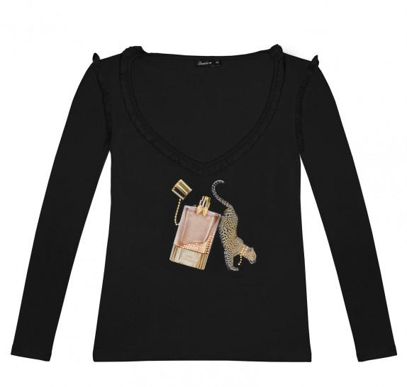 Long sleeves V neck frills - leopard parfume