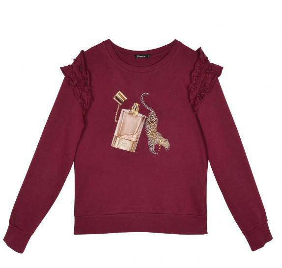 Sweater frills on shoulder - Bordeaux - leopard parfume