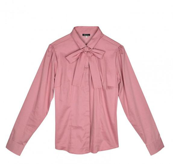 Old pink Blouse - long sleeves - bow