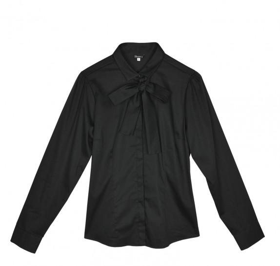 Black Blouse - long sleeves - bow