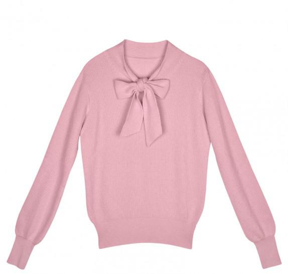 Pink pullover with front bow