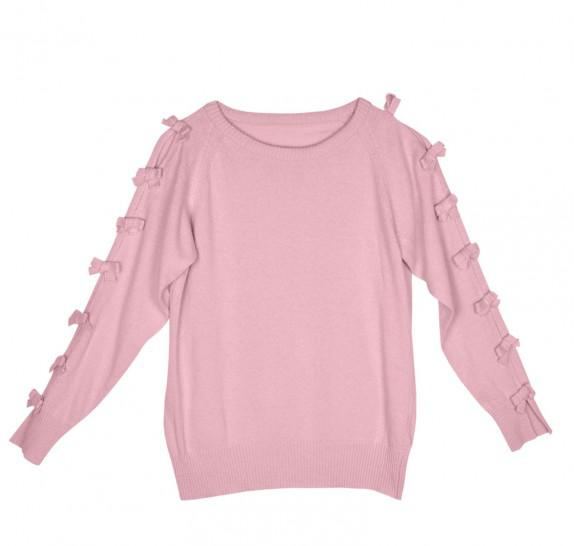 Pink pullover with little bows on sleeves