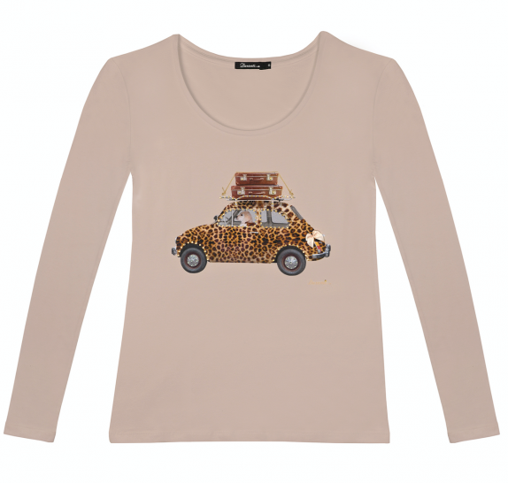 Long sleeves t-shirt - old pink - leopard car