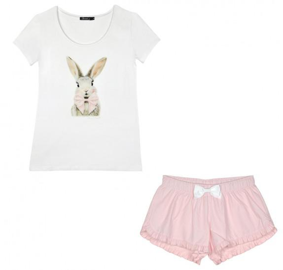 Pyjama short + t-shirt rabbit