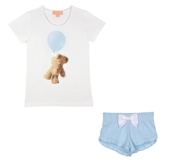 Pyjama t-shirt + short - bear balloon - Light blue