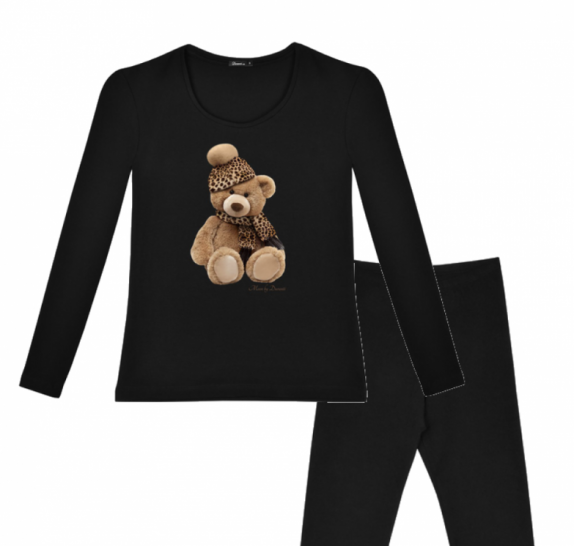 Pyjama Teddy leopard - Black