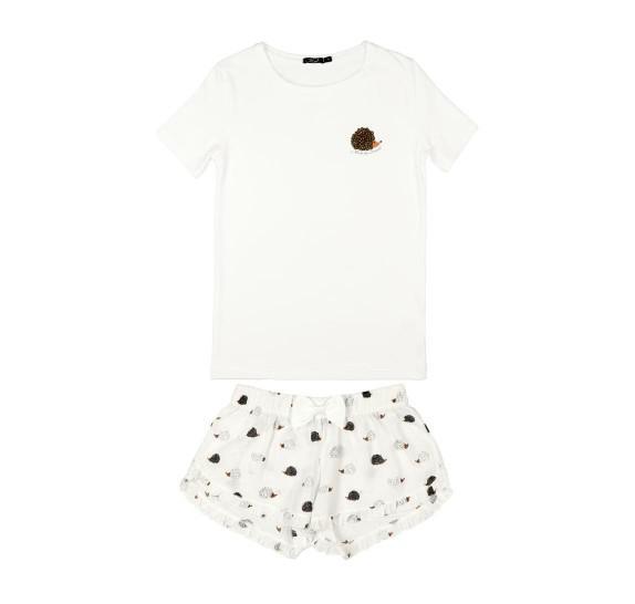 Pyjama short + t-shirt - Hedgehog - white *