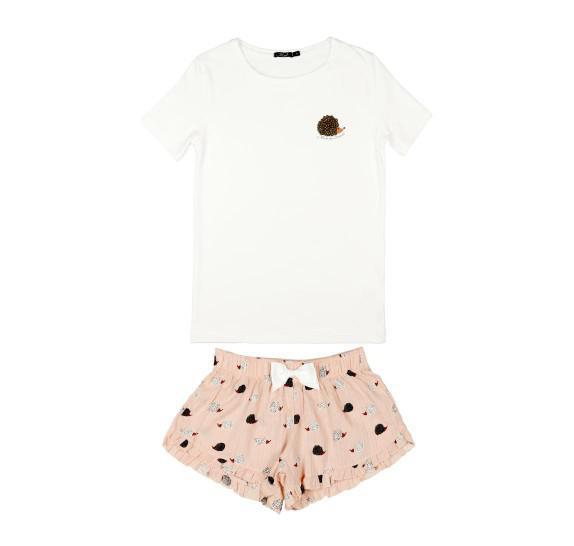 Pyjama short + t-shirt - Hedgehog - pink *