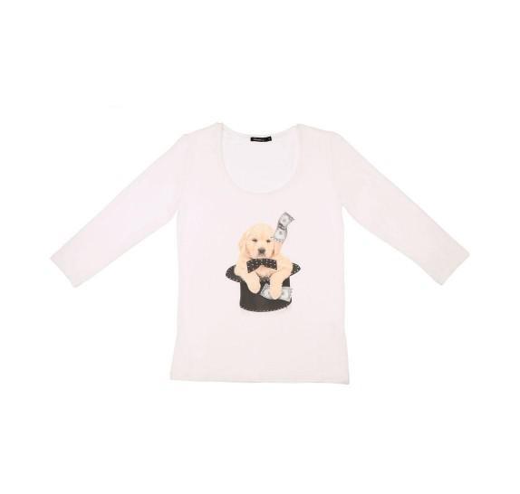 White t-shirt 3/4 sleeves - Magic dog