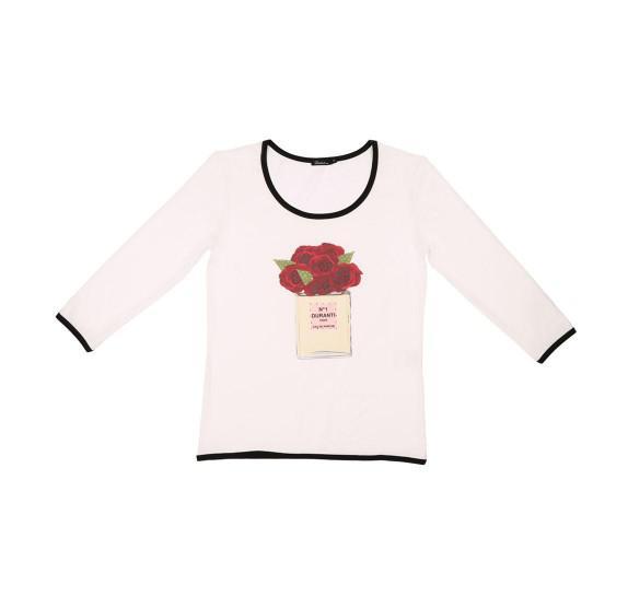 White t-shirt 3/4 sleeves perfume roses