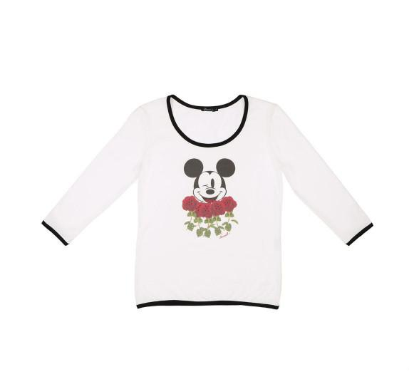 White 3/4 sleeves t-shirt - Mickey roses