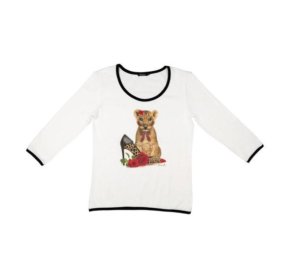 White 3/4 sleeves t-shirt - baby lion shoe