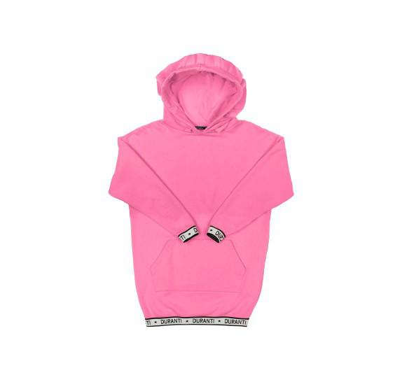 Oversized Hoodie dress logo - Barbie pink