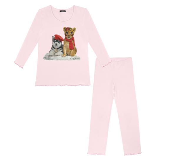 Pyjama dog & lion in snow